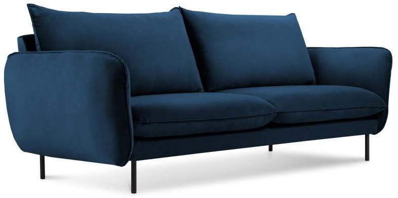 Modrá zamatová pohovka Cosmopolitan Design Vienna, 160 cm