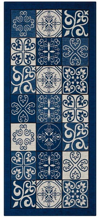 Modrý behúň Floorita Maiolica Blu, 55 × 140 cm