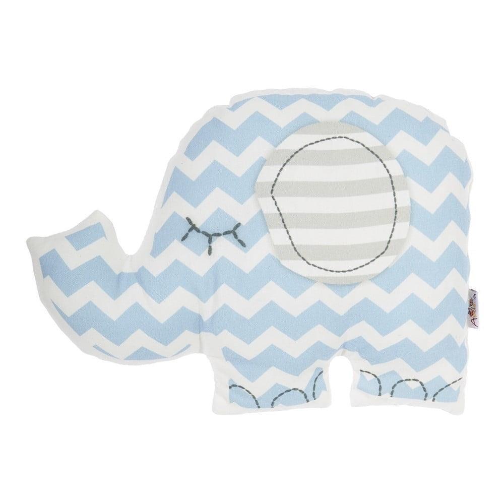 Modrý detský vankúšik s prímesou bavlny Mike & Co. NEW YORK Pillow Toy Elephant, 34 x 24 cm