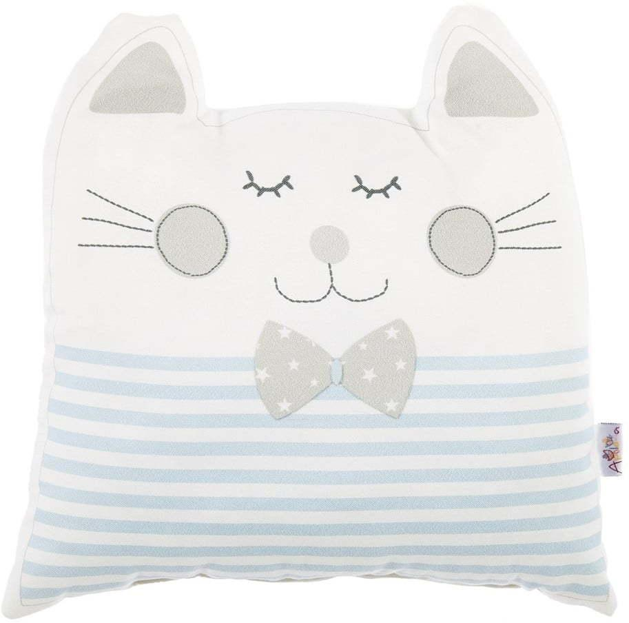 Modrý detský vankúšik s prímesou bavlny Mike & Co. NEW YORK Pillow Toy Big Cat, 29 x 29 cm