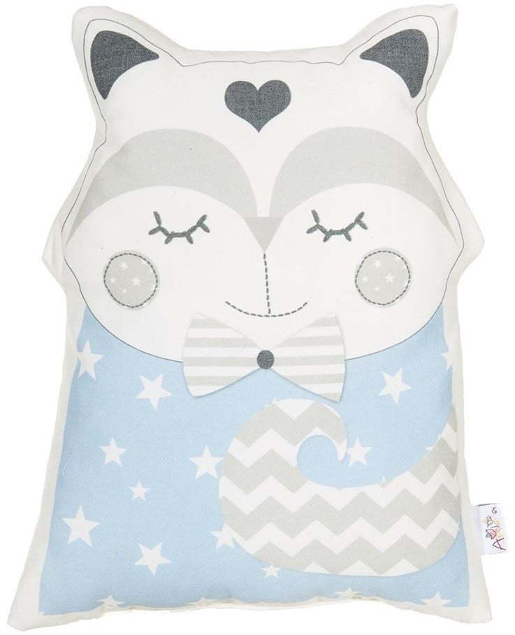 Modrý detský vankúšik s prímesou bavlny Mike & Co. NEW YORK Pillow Toy Smart Cat, 23 x 33 cm