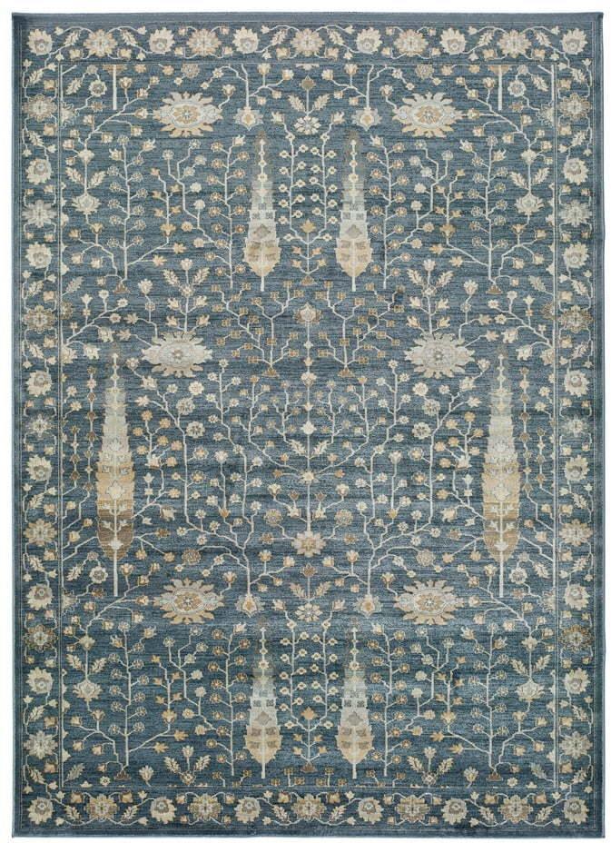 Modrý koberec z viskózy Universal Vintage Flowers, 140 x 200 cm