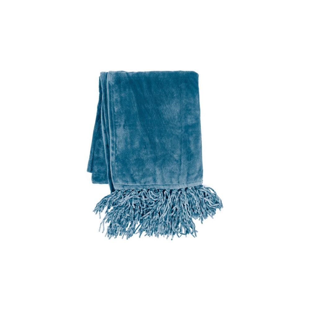 Modrý pléd Tiseco Home Studio Flanelo, 170 x 130 cm