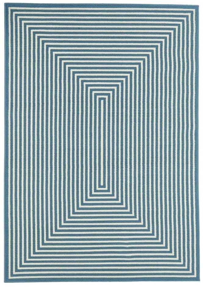 Modrý vonkajší koberec Floorita Braid, 133 × 190 cm