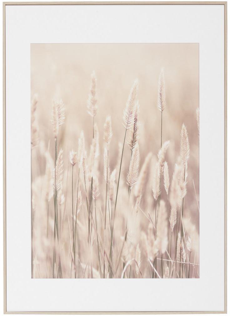 Monee OBRAZ S KLÍNOVÝM RÁMOM, kvety, 50/70 cm - béžová