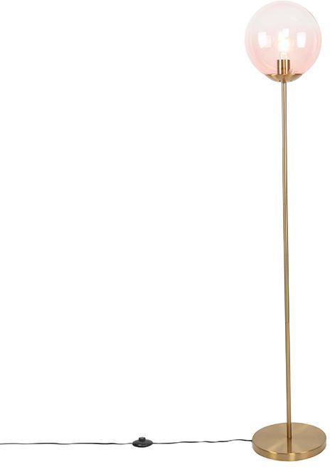 Mosadzná stojaca lampa s ružovým sklom - Pallon Mezzi