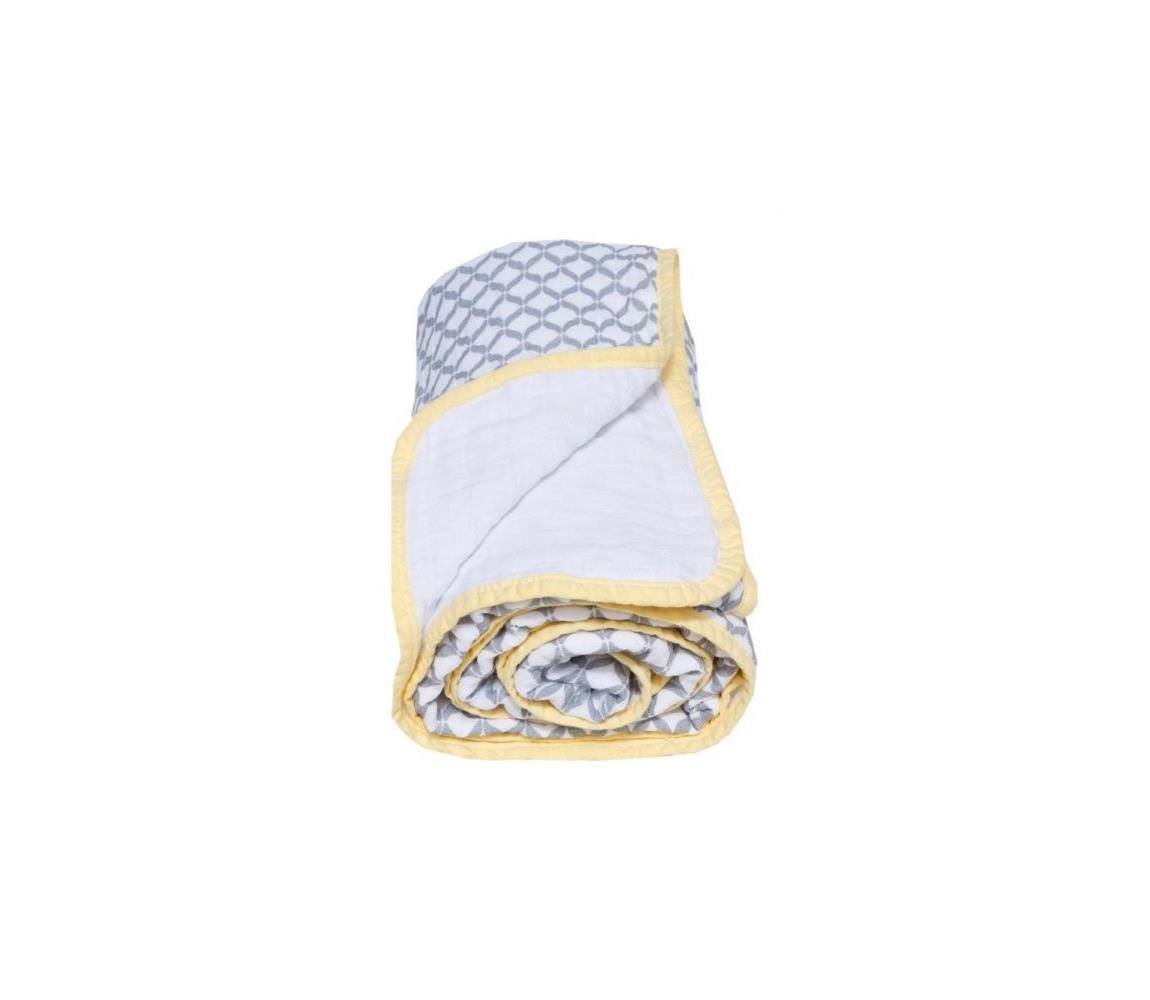 MOTHERHOOD - Deka bavlnená mušelínová dvojvrstvová 95x110 cm šedá