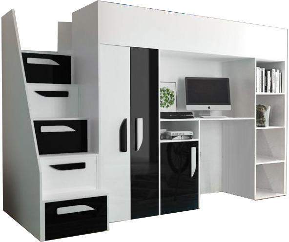 Multifunkčná poschodová posteľ Party 14 Farba: Čierna