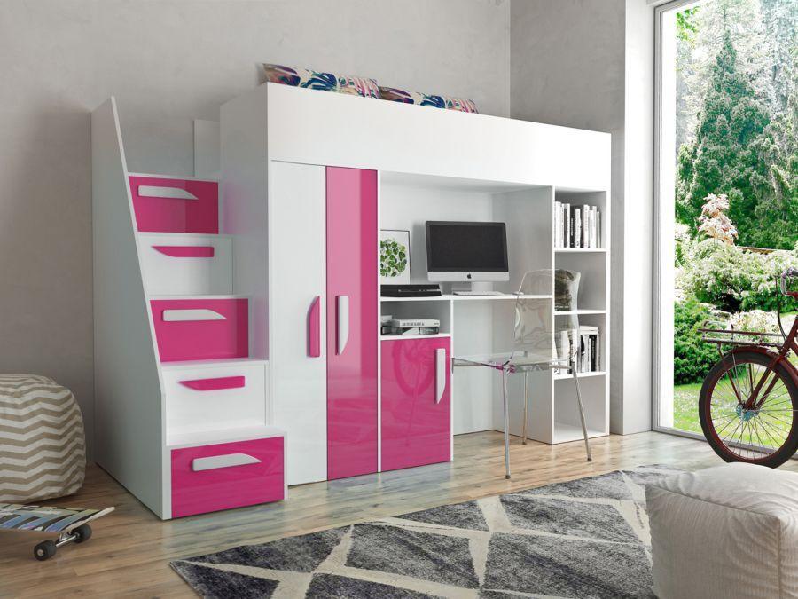 Multifunkčná poschodová posteľ Party 14 Farba: Ružová