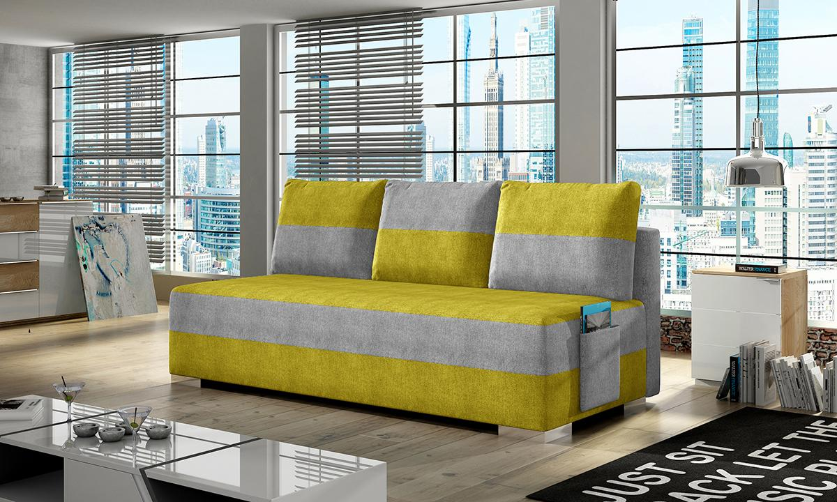 NABBI Adria rozkladacia pohovka s úložným priestorom žltá / svetlosivá