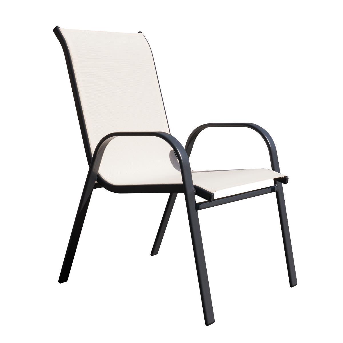 NABBI Arkadia záhradná stolička čierna / béžová