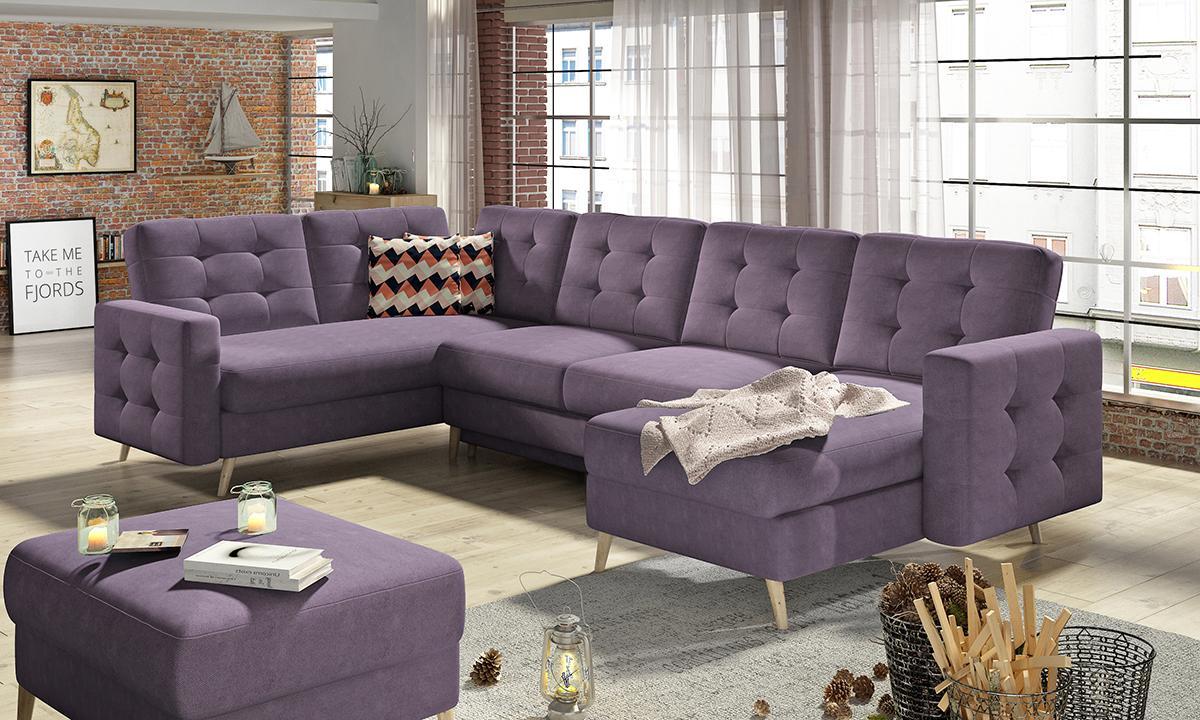 NABBI Aveza U L/P rohová sedačka u s rozkladom fialová / vzor