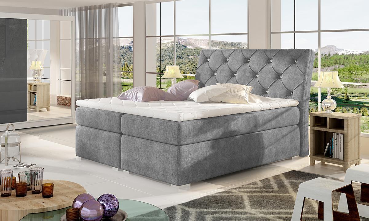 NABBI Beneto 140 čalúnená manželská posteľ s úložným priestorom tmavosivá (Omega 13)