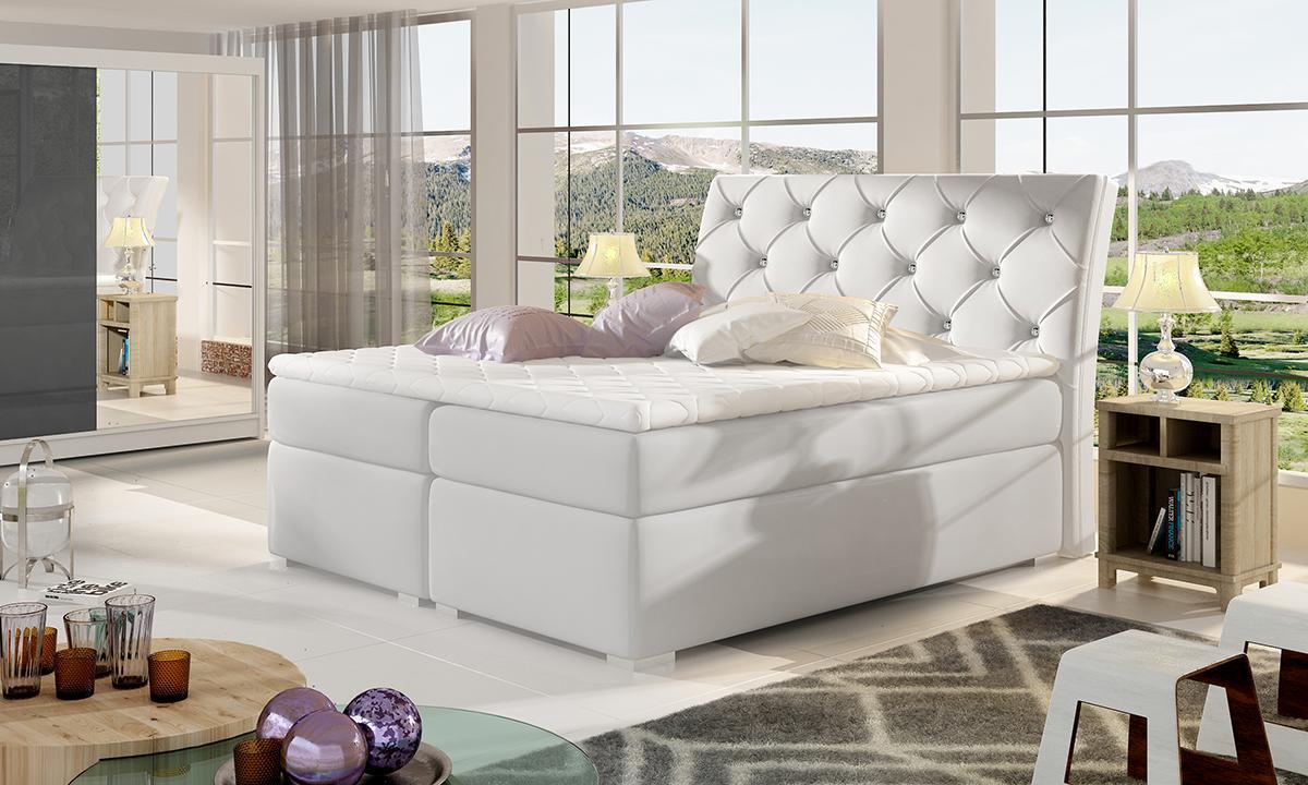 NABBI Beneto 180 čalúnená manželská posteľ s úložným priestorom biela