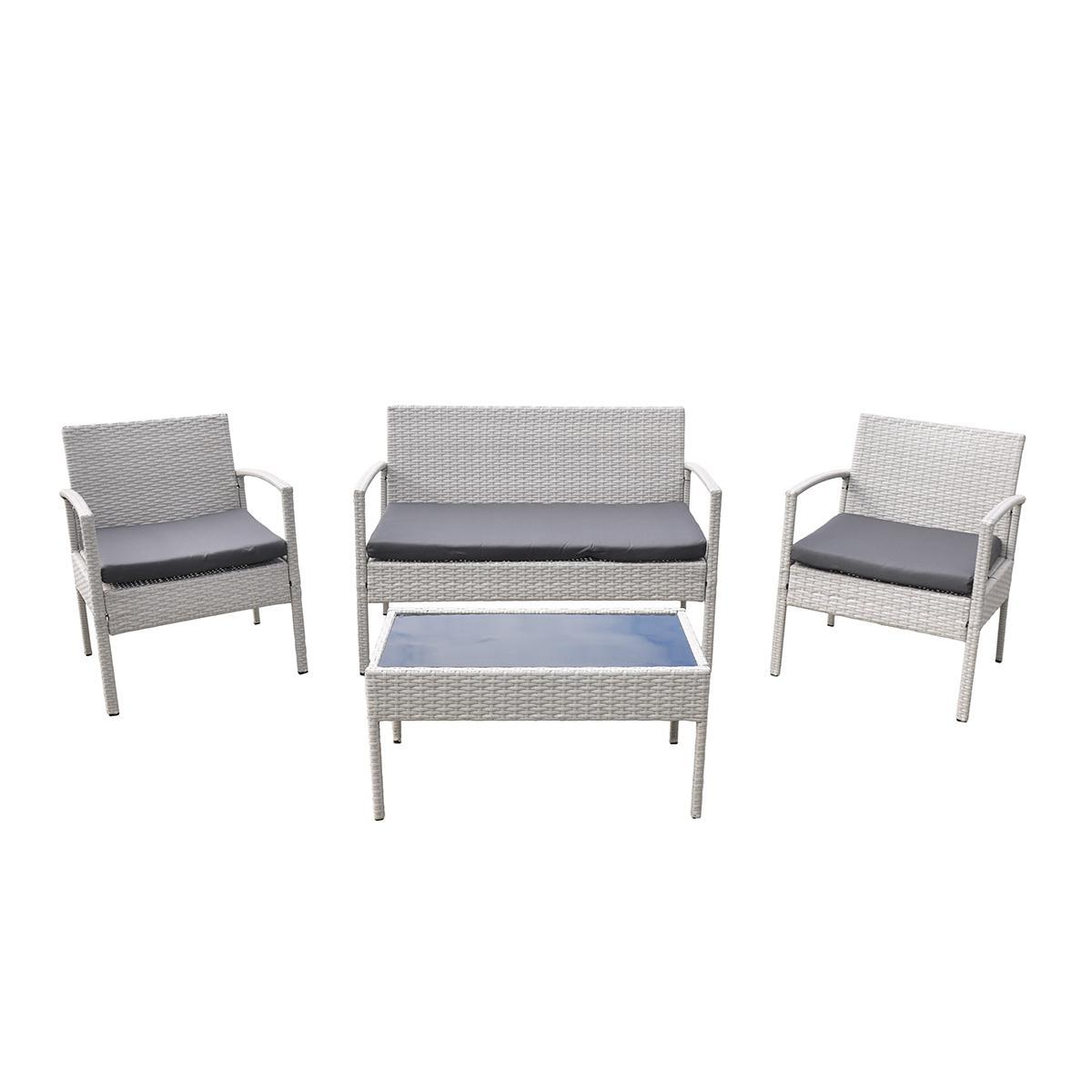 NABBI Cruz záhradný nábytok z umelého ratanu svetlosivá / sivá