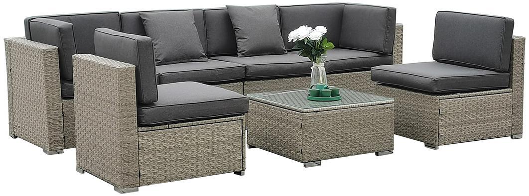 NABBI Godon záhradný nábytok z umelého ratanu svetlosivá / sivá