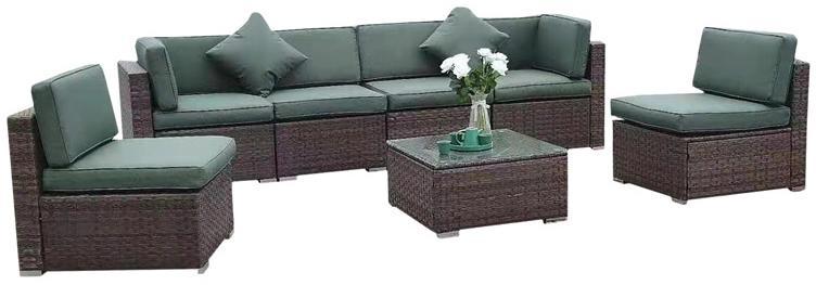 NABBI Godon záhradný nábytok z umelého ratanu tmavohnedá / zelená