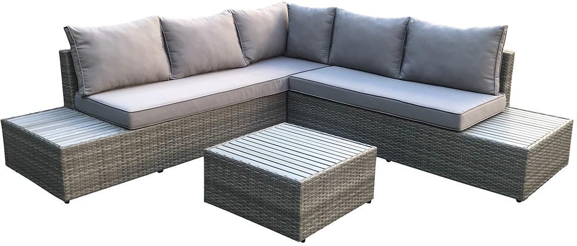 NABBI Kasano záhradný nábytok z umelého ratanu tmavosivá / sivá