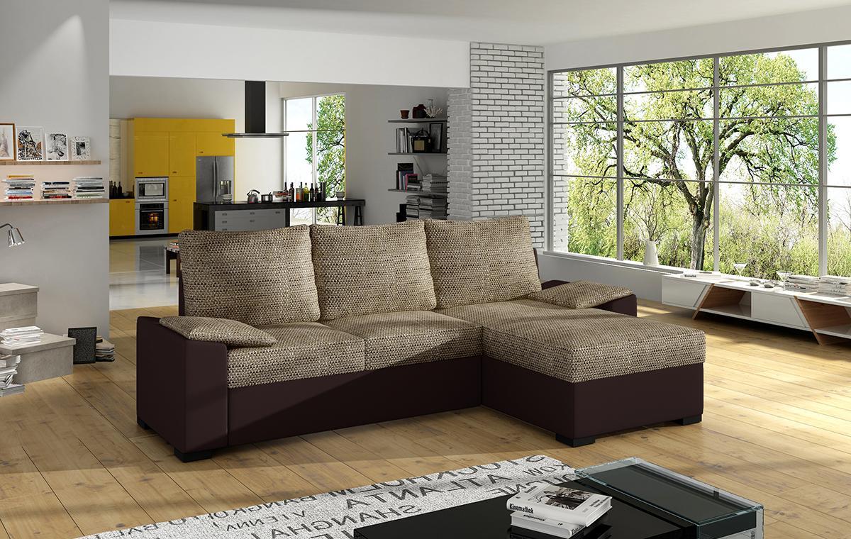 NABBI Linzo L/P rohová sedačka s rozkladom a úložným priestorom cappuccino / tmavohnedá