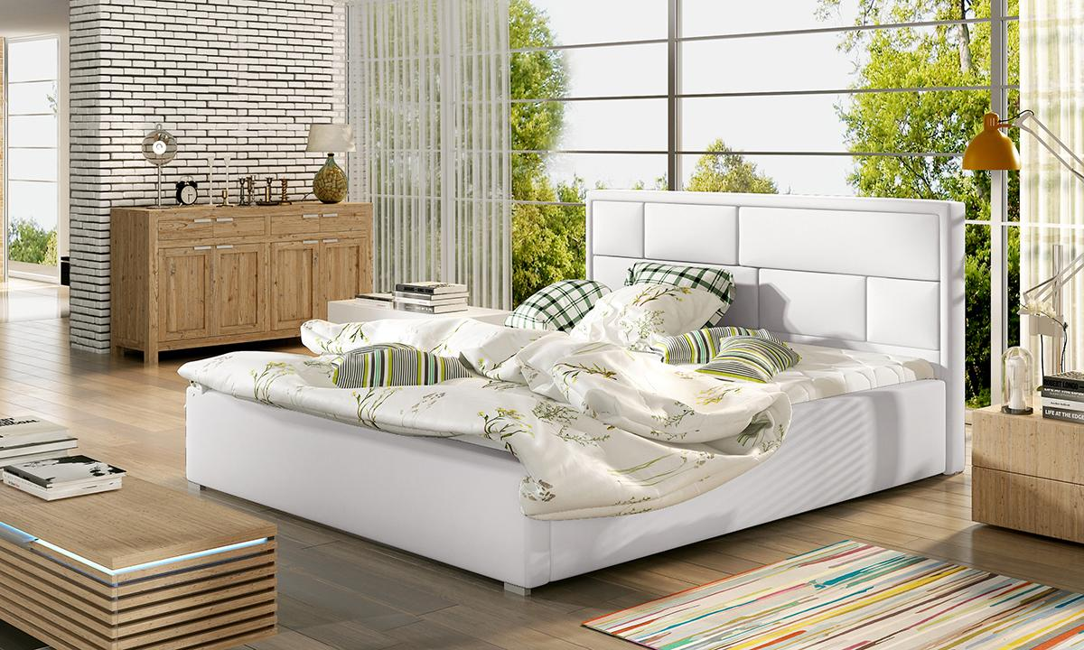 NABBI Liza UP 140 čalúnená manželská posteľ s roštom biela