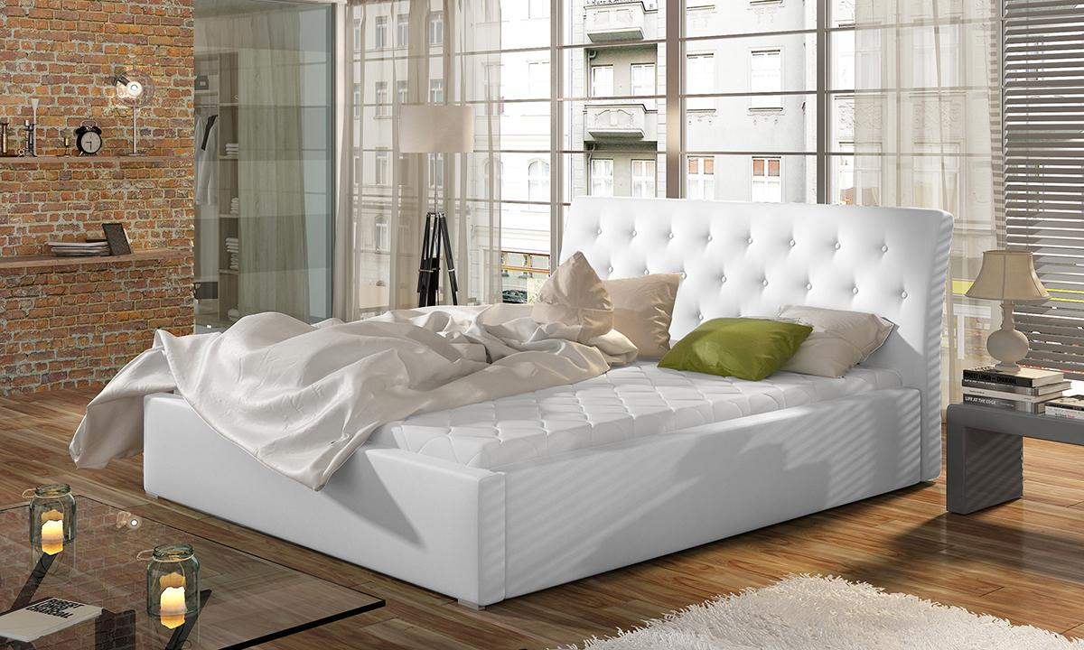 NABBI Monzo 200 čalúnená manželská posteľ s roštom biela
