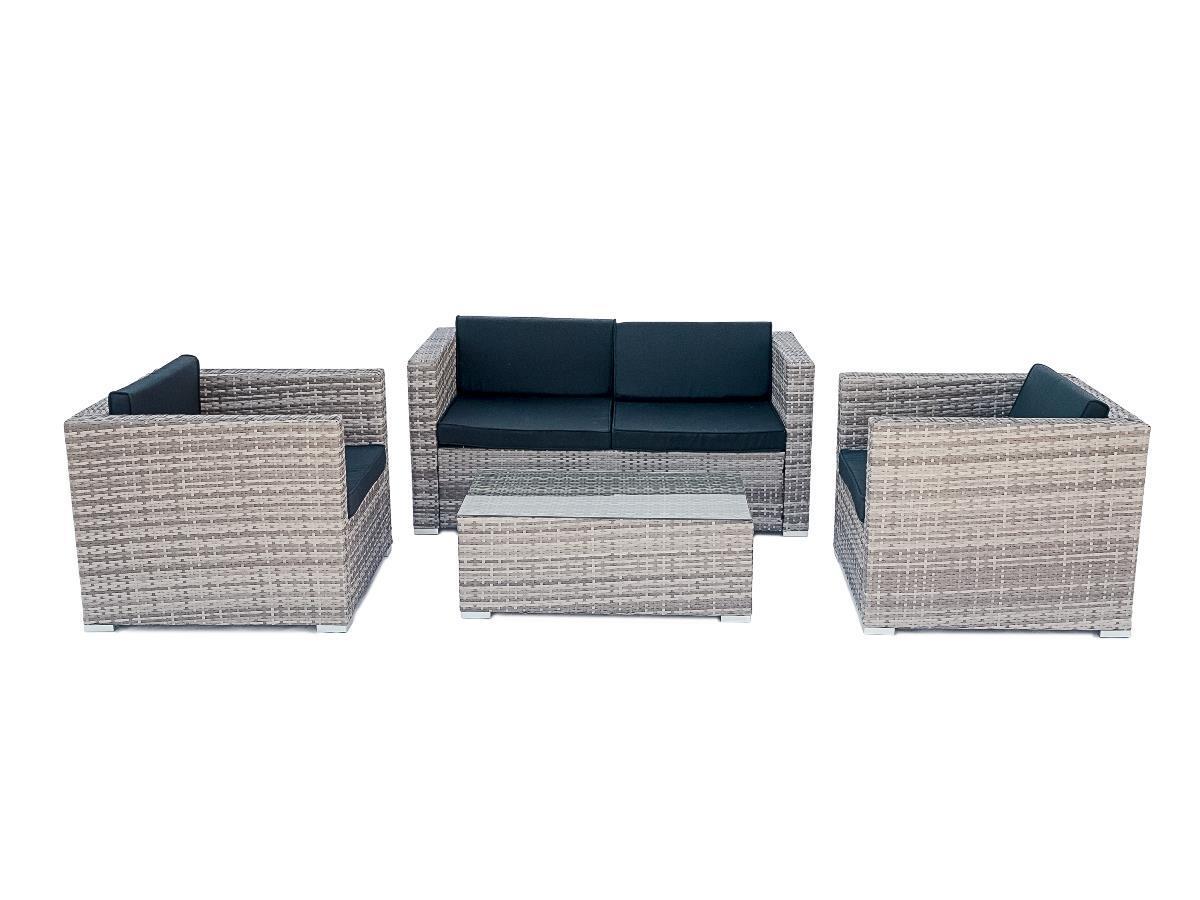 NABBI Quattro záhradný nábytok z umelého ratanu sivá / čierna