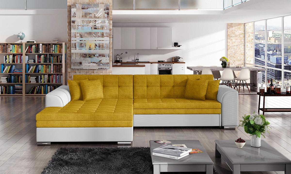NABBI Salerno L rohová sedačka s rozkladom žltá / biela