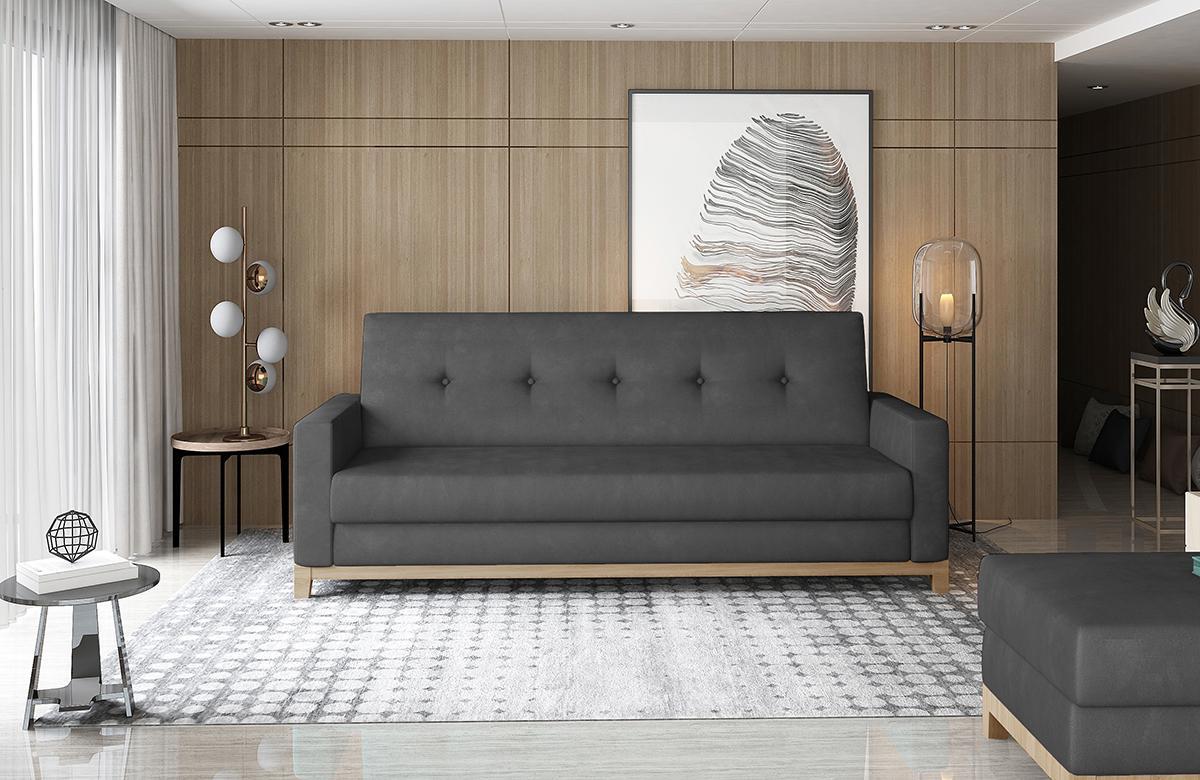 NABBI Soria rozkladacia pohovka s úložným priestorom čierna (Monolith 97) / buk