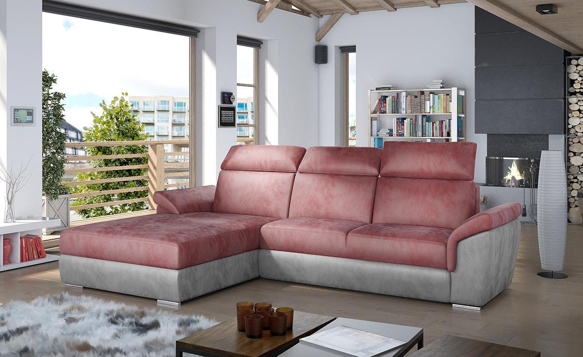 NABBI Tarragon L rohová sedačka s rozkladom a úložným priestorom bordová / svetlosivá