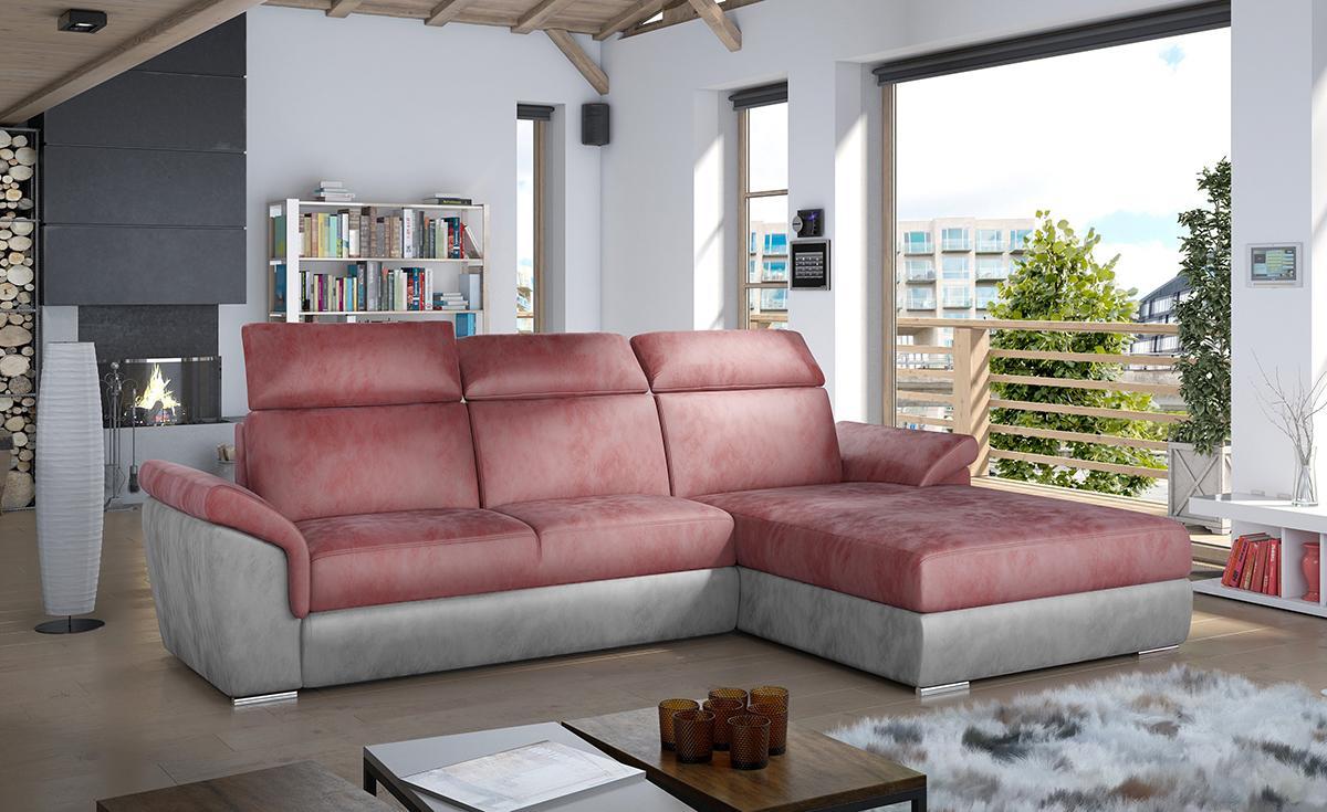 NABBI Tarragon P rohová sedačka s rozkladom a úložným priestorom bordová / svetlosivá