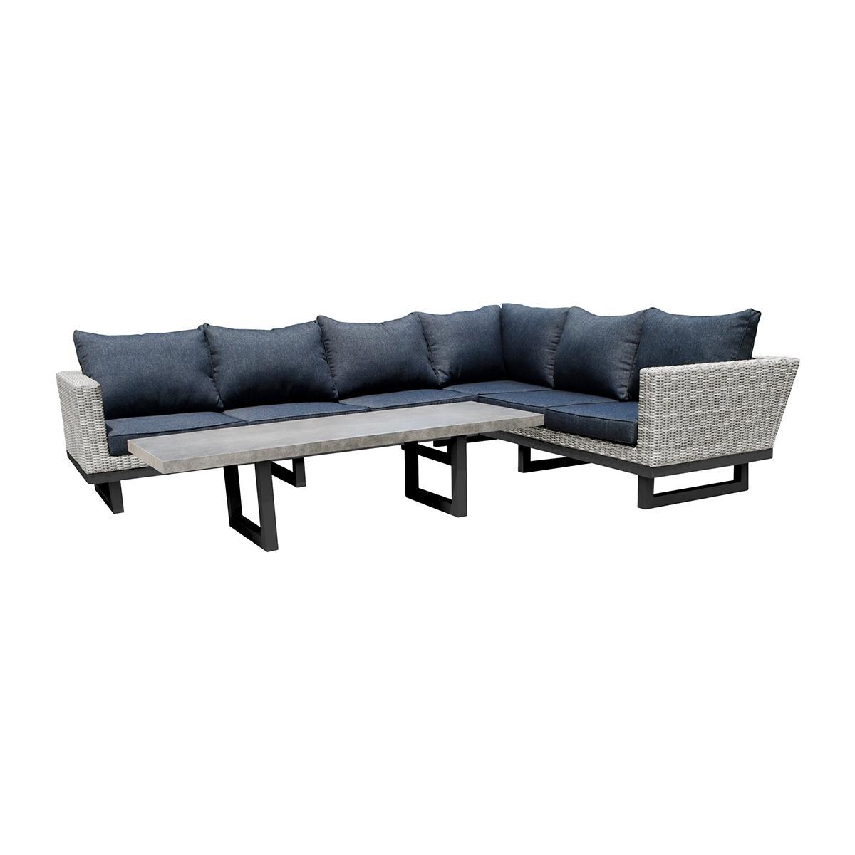 NABBI Toledo záhradný nábytok z umelého ratanu svetlosivá / čierna / tmavosivá