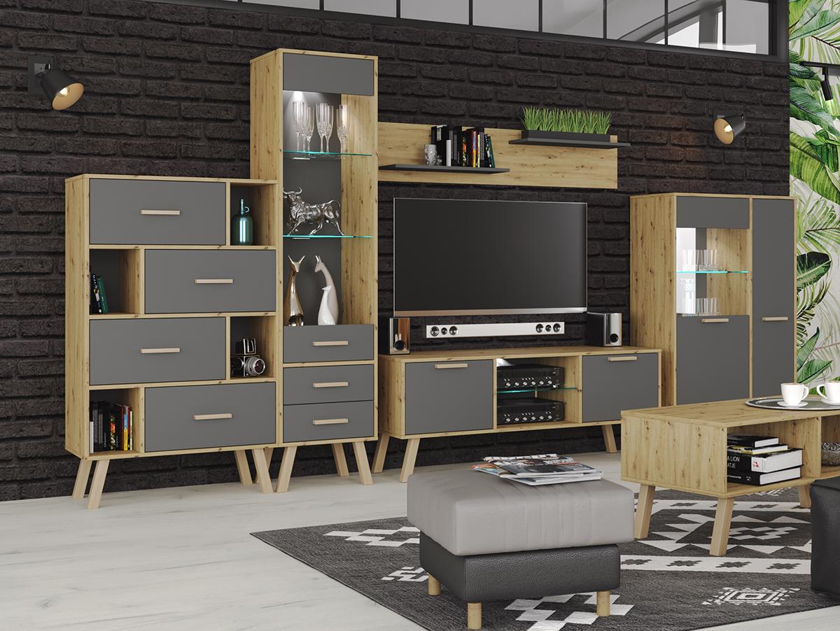 NABBI Vilander obývacia izba sivý grafit / dub artisan
