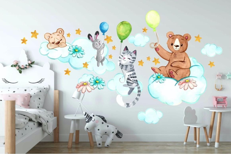 DomTextilu Nádherná detská nálepka na stenu zvieratká na oblohe 60 x 120 cm 46590