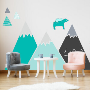 Nálepka hôr a kopcov v tyrkysových farbách s tabuľovou fóliou