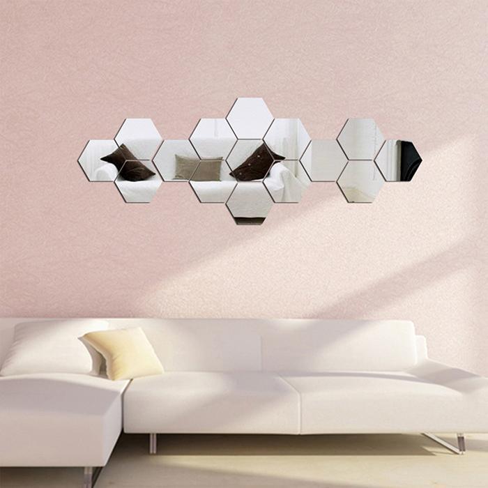 Nálepka na stenu, 6-uholník, zrkadlová 8x7x4cm