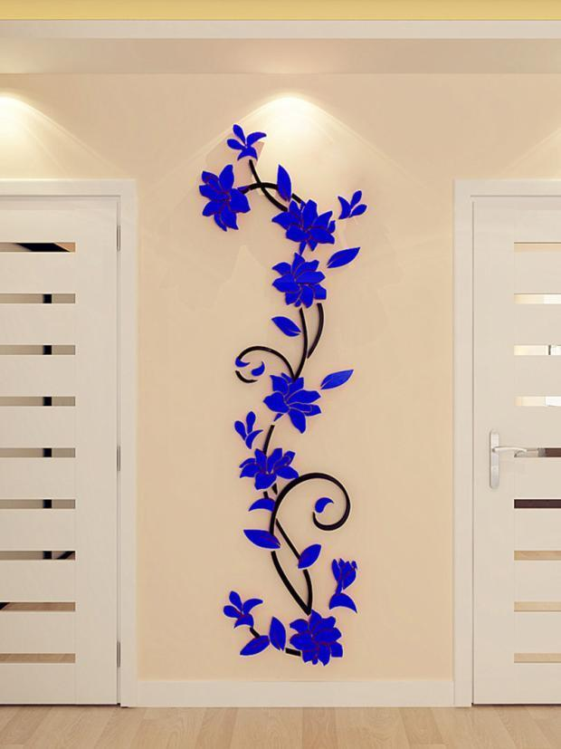Nálepka na stenu, FLOWER modré 80x24 cm