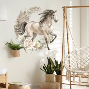 Nálepka na stenu - Hnedý kôň v boho štýle