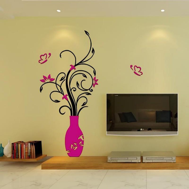 Nálepka na stenu, Kvety Cyklaménová Váza 60x28 cm