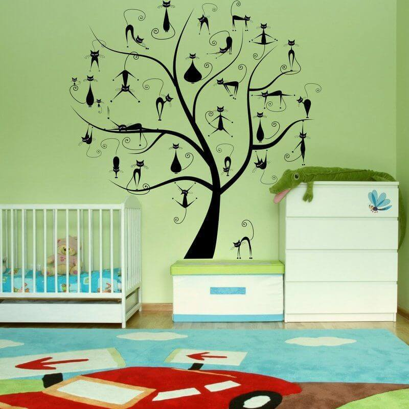Nálepka na stenu - Strom s mačiatkami