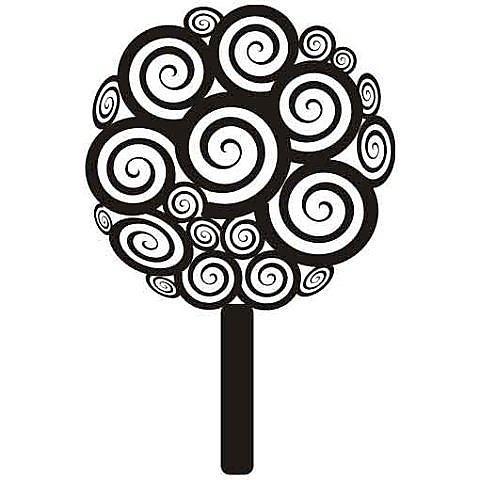 Nálepka na stenu - Strom so špirálami _px164