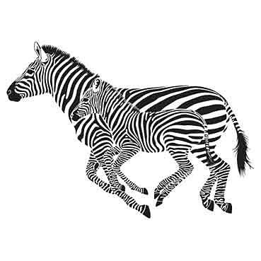 Nálepka na stenu - Zebra a mláďa _exa106