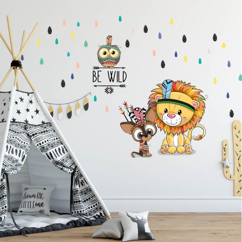Nálepka na stenu - zvieratká Be Wild