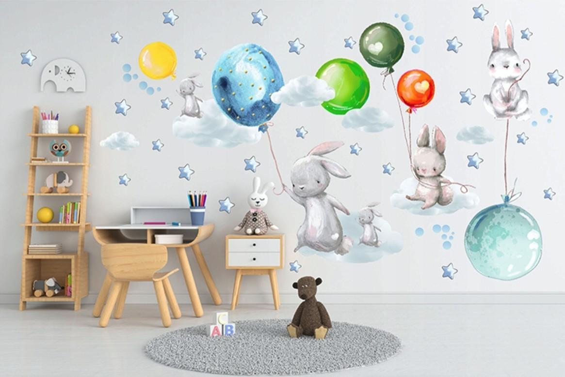 DomTextilu Nálepky do detskej izby zajačiky s farebnými balónmi 100 x 240 cm 46200-216725