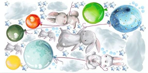 DomTextilu Nálepky do detskej izby zajačiky s farebnými balónmi 60 x 120 cm 46200-216724