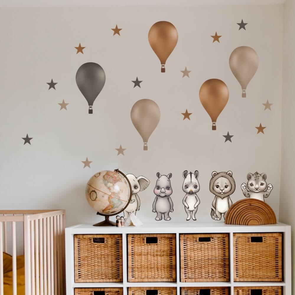 Nálepky na stenu - INSPIO zvieratká s balónmi