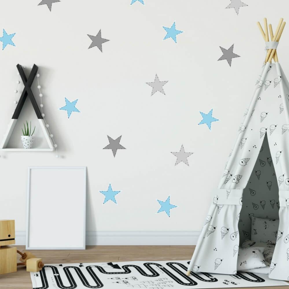 Nálepky na stenu - Modré hviezdy