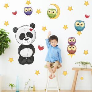 Nálepky na stenu- Panda a sovičky