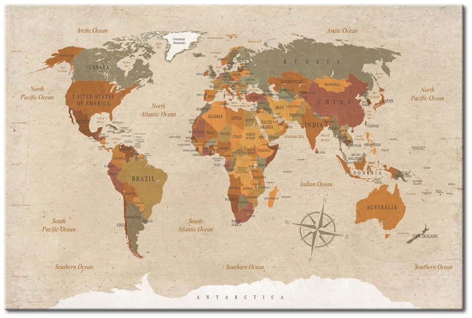 Nástenka s mapou sveta Bimago Beige Chic 90 × 60 cm