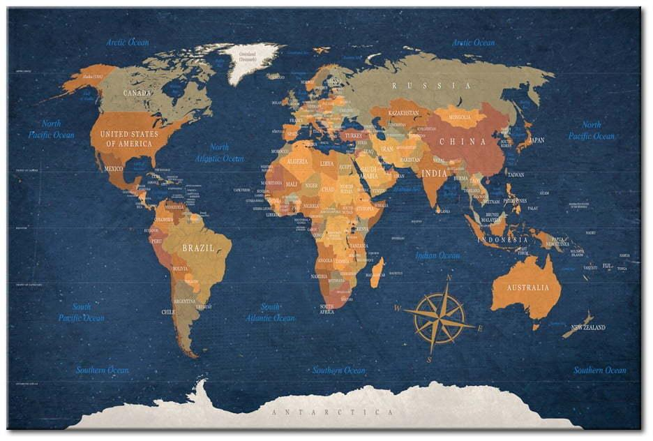 Nástenka s mapou sveta Bimago Ink Oceans 90 × 60 cm