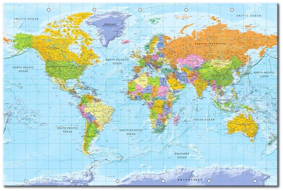 Nástenka s mapou sveta Bimago Orbis Terrarum 120 × 80 cm